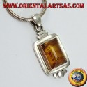 Silver pendant with rectangular Amber with three balls
