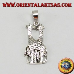 Silver pendant two giraffes that kiss