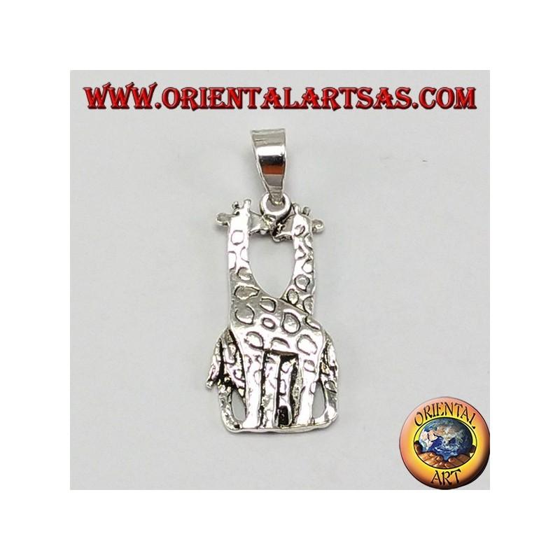 Ciondolo in argento due giraffe che si baciano