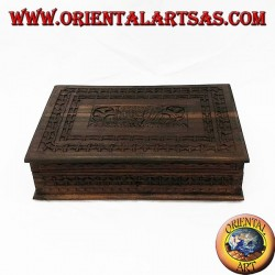 Wooden jewel box with wooden shelves (Indonesian ebony) inlaid