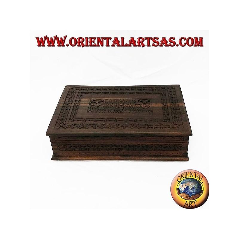 Scatola portagioie con ripiano in legno sonokeling (ebano Indonesiano) intarsiato