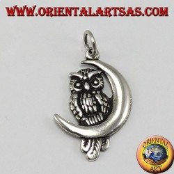Silver owl pendant on crescent