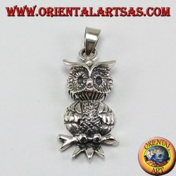 Silver pendant, owl on the branch
