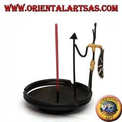 Ashtray, burning iron incense: the warrior