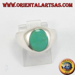 Silver ring with oval turquoise
