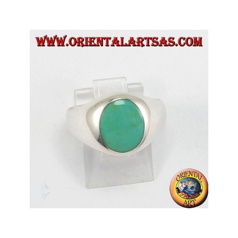 Anello d'argento con turchese ovale