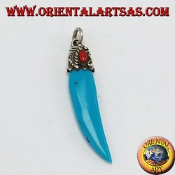 Turquoise pear horn pendant with silver and coral frame