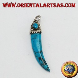 Pendant, turquoise horn with silver frame