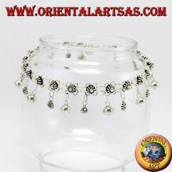 Cavigliere in argento fiorellini e campanelli