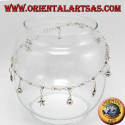 Ножные в серебре с 5 звездами и 7 колокольчиков