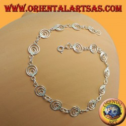 Silver anklets with flower and leaf pendants