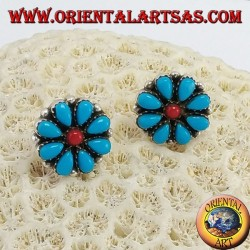 Silver lobed earrings, petal in turquoise and central coral petals