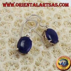 Silver earrings with oval lapis lazuli