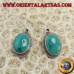 Silver earrings, with Tibetan natural turquoise