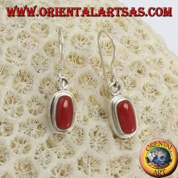 Silver earrings with natural coral