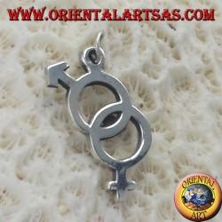 Ciondolo d'argento, di unione di coppia (uomo e donna )