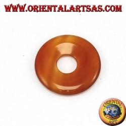 Pendentif cornaline en beignet 30mm. Ø