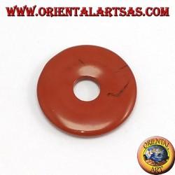 Pendentif jaspe rouge Donut 30mm. Ø