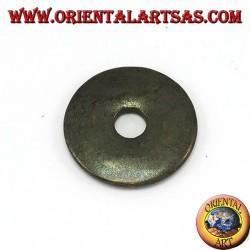 Ciondolo di pirite a ciambella da 40 mm. di diametro Ø completo cordoncino cerato regolabile