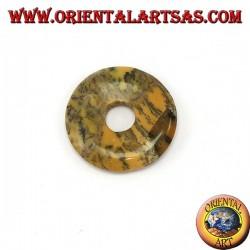 Pendentif australien jaspe Donut 30 mm. Diamètre Ø ligne complète ciré réglable