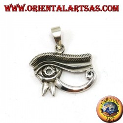 Silver pendant, Horus eye inlaid and inlaid