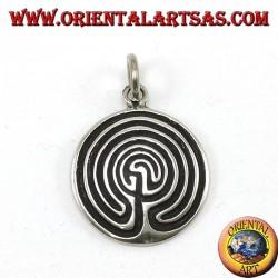 Silver pendant, labyrinth