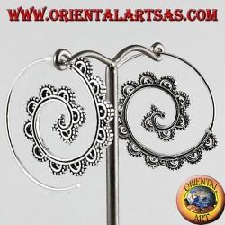 Boucles d'oreilles argent, spirale décorée