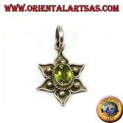 Ciondolo argento fior di loto con peridoto naturale
