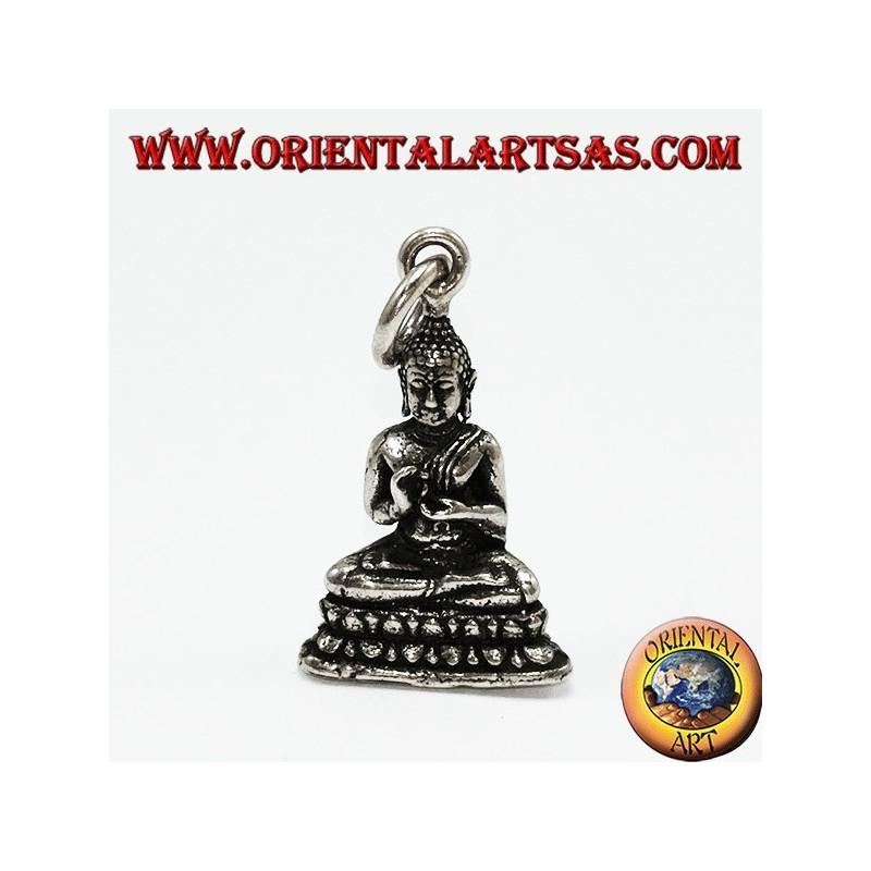 colgante de plata de Buda en posición de mudra de Dharmachakra