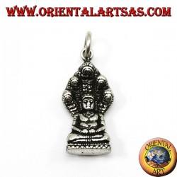 Ciondolo in argento Buddha nella posizione del Dhyana Mudra protetto dal cobra