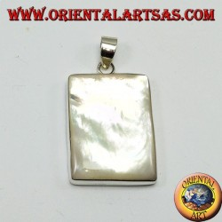 Silver pendant with large rectangular mother of pearl