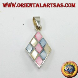 Silver pendant with 9 colored pearls, in rhombus