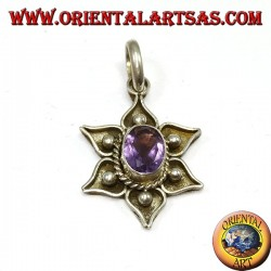 Silver pendant, lotus flower with natural amethyst