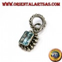 Silver pendant with rectangular natural blue topaz