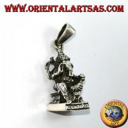 Colgante de plata estatua Ganesha con ratones
