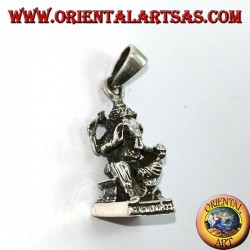 Silver pendant Ganesha statue with mice