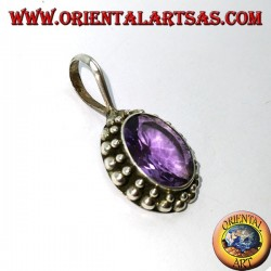 Silver pendant, oval natural Amethyst with ball edging