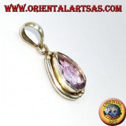 Silver pendant with natural drop amethyst