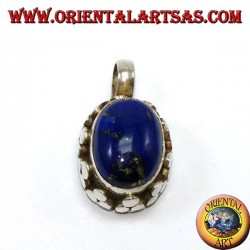 Silver pendant with oval natural lapis lace on high edge