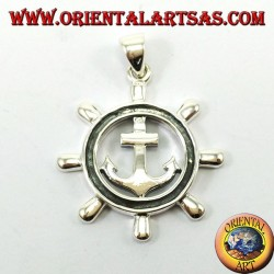 Silver pendant, Rudder with anchor