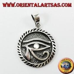 Ciondolo in argento, occhio di Horus intagliato il simbolo della prosperità