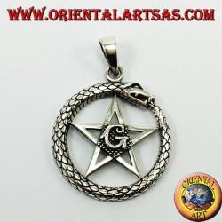 Silver Pendant, Uroboro Ouroboros with Pentacle Mason