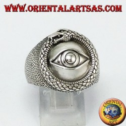 Silver ring, Ouroboros of the illuminated with eye