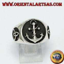 Silver ring, anchor with tyrone knot