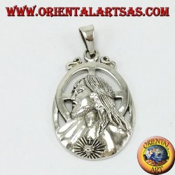 Pendant in silver Jesus with sacred heart