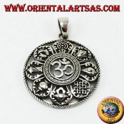 Ciondolo in argento Om con gli otto simboli del buon auspicio (grande)