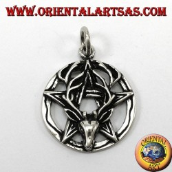 Pendant in silver, pentacle with deer head