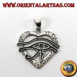 Silver pendant, Horus eye on the heart symbolizes love and prosperity