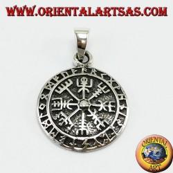 Ciondolo d'argento aegishjalmur e vegvisir con rune celtiche (piccolo)