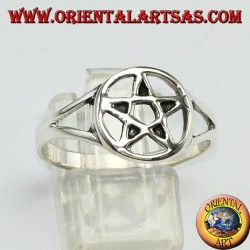 Silver ring with perforated pentacle